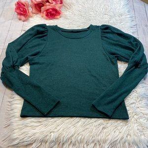 ZARA Emerald Green Puff Sleeve Ribbed Top sz S